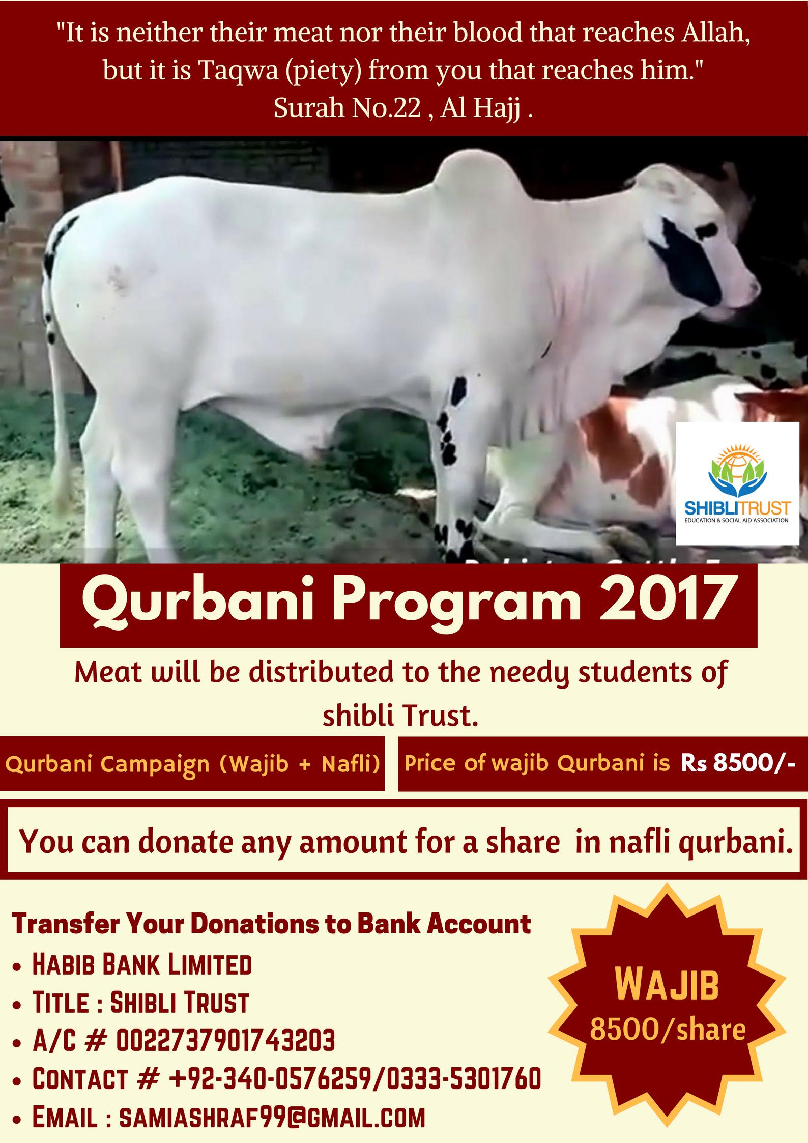 Qurbani Program 2017Shibli Trust